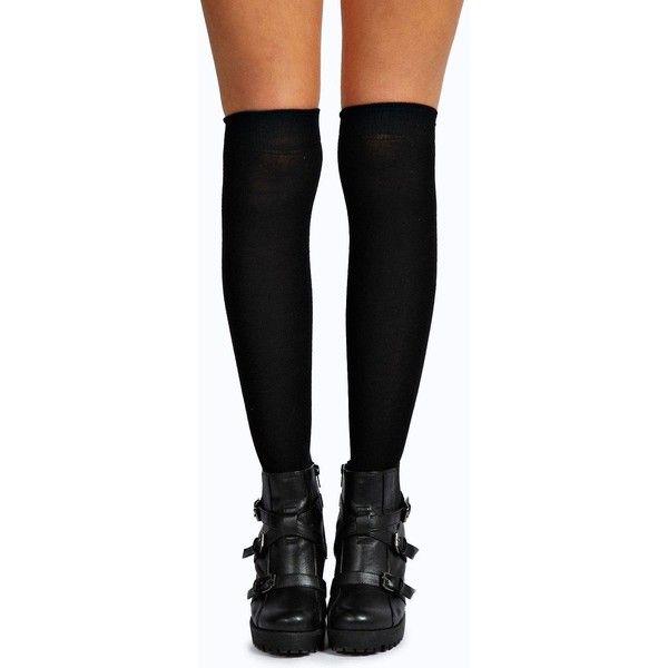 Boohoo Khloe Knee High Socks ($7) ❤ liked on Polyvore featuring intimates, hosiery, socks, black, knee socks, knee hi socks and knee-high socks