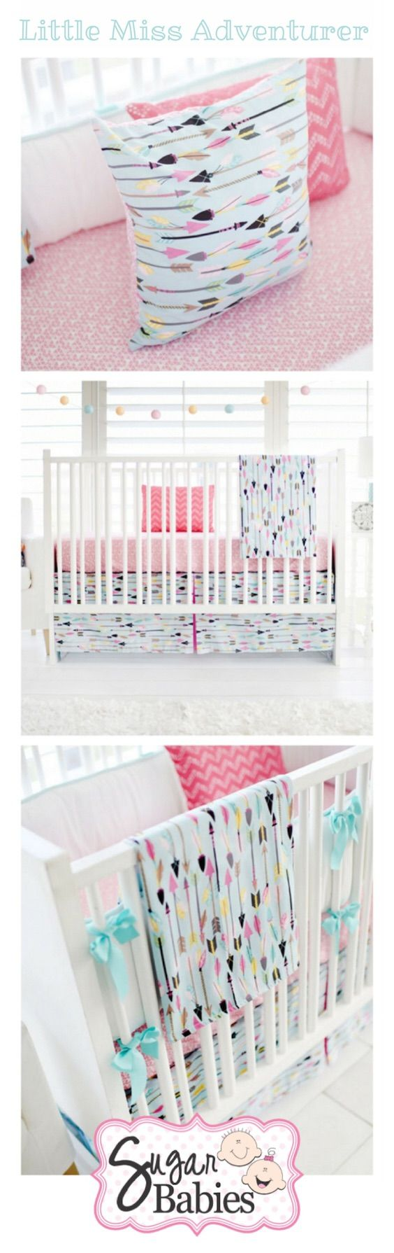 Cant get enough of this little adventurer baby bedding! The airy teal and pink arrows are perfect for a baby girl's room. We're feeling inspired, how about you!?