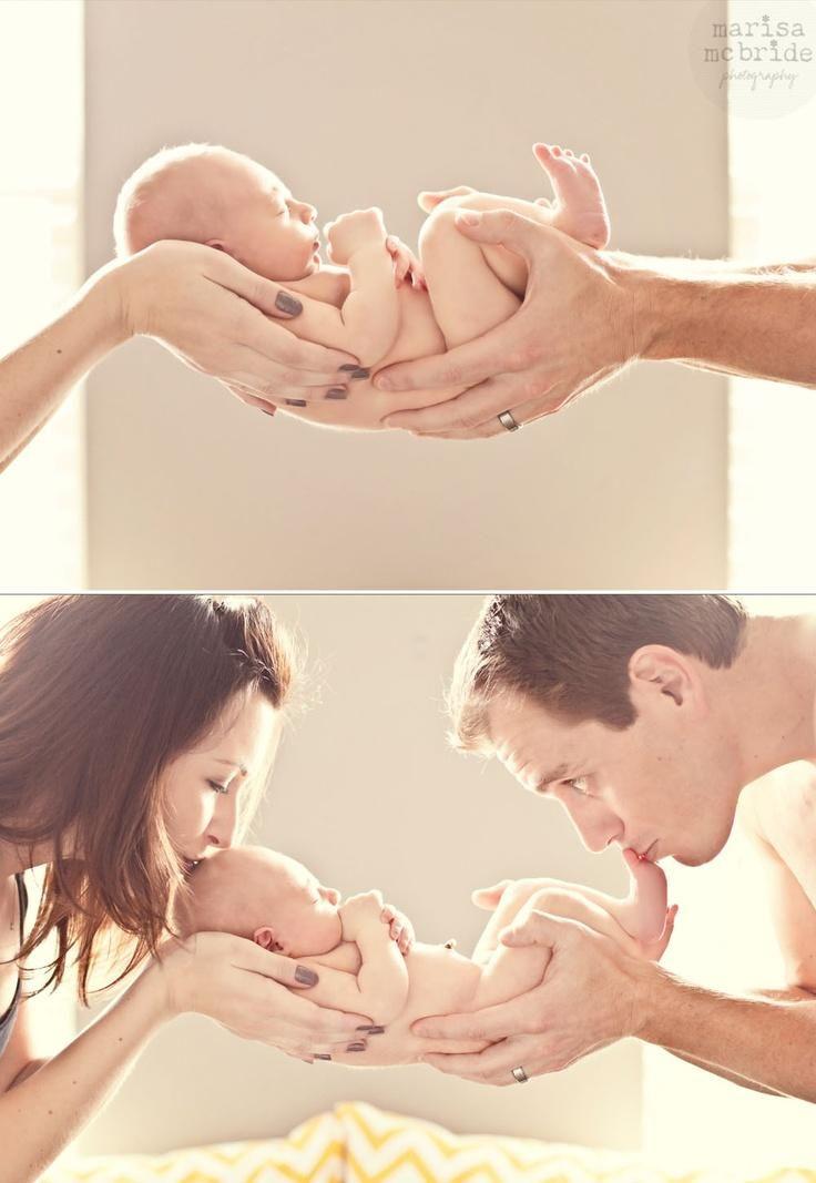 A very sweet birth announcement photo idea.