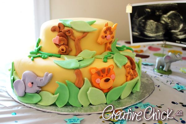 Jungle Theme Baby Shower Cake by the Creative Chick