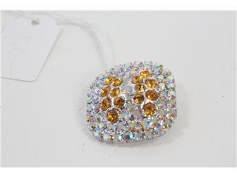 Brosch,  med Vackra stenar i orange och gult.  Simplet säljer dina smycken åt dig på nätet!