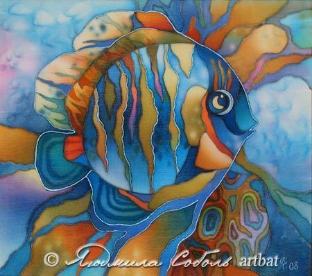 """Купить Батик """"Рыбка"""" - Батик, шелк, роспись, рыба, handmade, batik, Декор, темно-бирюзовый"""