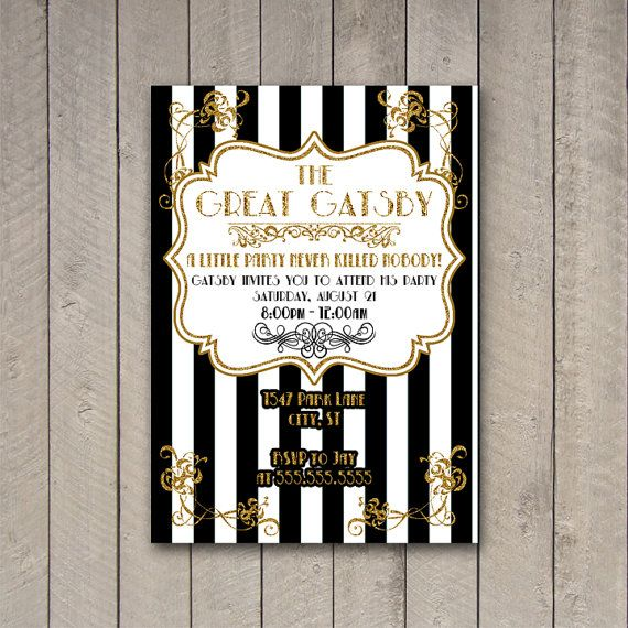 Gatsby Party Invitation, The Great Gatsby Party Invite, Gatsby Party, Black and Gold Invitation, DIGITAL YOU PRINT on Etsy, $10.00