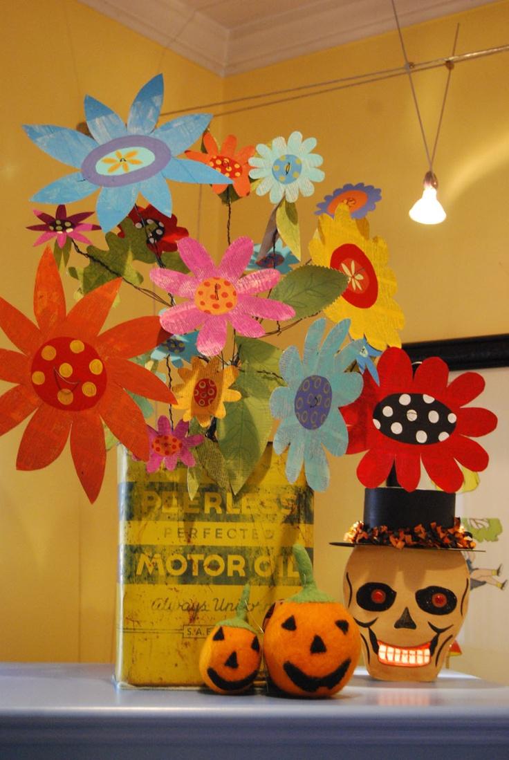 Cardboard and wire flowersKiddie Crafts, Wire Flowers 2, Wire Flower 2, Windows Ledge, Flower Fun, Center Piece, School Kids