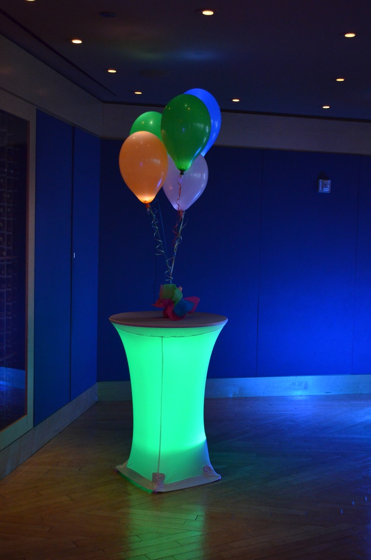 LED lights inside spandex high cocktail covers! #cvlinens #wedding #cocktail   LED Tables by Ideal Party Decorators - www.idealpartydecorators.com
