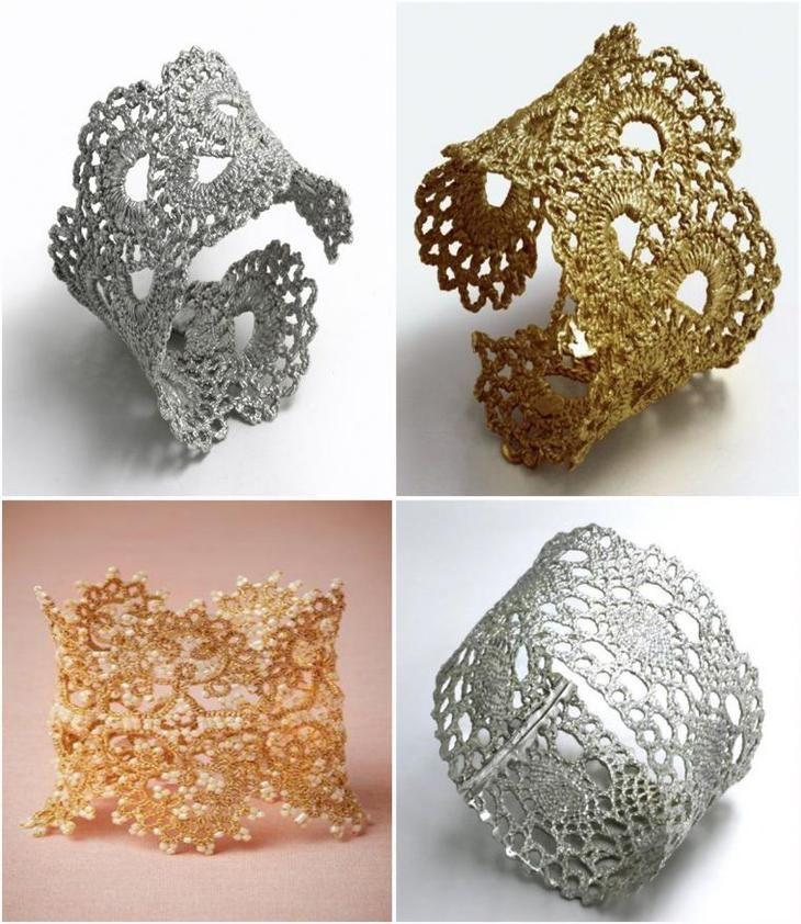 Потрясающие вязаные браслеты, серьги, колье: 150 прекрасных украшений крючком и…