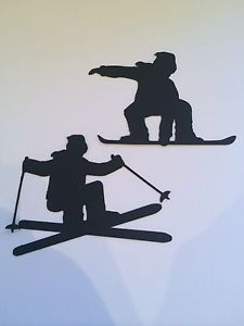 10 SKIER SNOWBOARDER CARD DIE CUT CHOOSE COLOUR TOPPER SCRAPBOOK SILHOUETTE | eBay