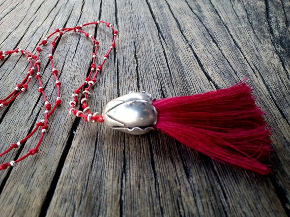 Hot Red Tassel Necklace Sterling Silver by PiscesAndFishes on Etsy