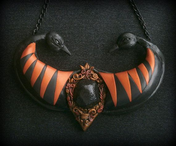 Black bird necklace polymer clay birds pendant faux copper and gold faux black stone by Lijoux