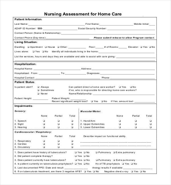 Nursing Assessment Form For Home Care Nursing Assessment Nurse Assessment Welcome to the assessments web page of the kansas state department of education. nursing assessment form for home care