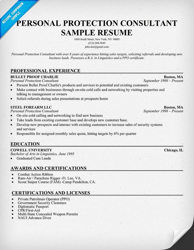 personal protection consultant resume