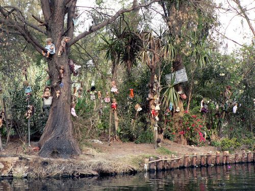 Isla de las Munecas - Island of the Dolls. In the swamp that was formerly in Aztec country, lived the soul inhabitant of this now abandoned island. Legend has it, a little girl drowned near the island and the inhabitant, Don Julian Santana Barerra, found the girl's doll floating in the water. Then he found another floating, and another and kept finding them. So, he began decorating the island with all manner of dolls, creating a very creepy place before he mysteriously drowned in the same…
