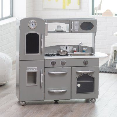 Classic Playtime Gray Wooden Retro Kitchen Set - TD-11414G