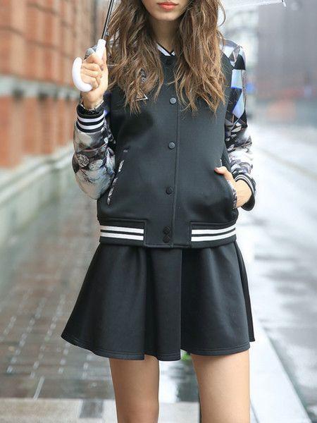 Black Fashion Printed Short coat