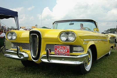 This piece of crap was the Edsel Ford. It was hubris as its worst. The Edsel was supposed to be the next generation of automobile and Ford invested billions of dollars in its development and marketing. It turned out it was only a mediocre addition to the Ford line that cannibalized sales from other Ford divisions and didn't hurt the competition at all. It was only made for 3 years, 58 - 60 and never even sold enough to make half its breakeven costs. A total marketing abortion.
