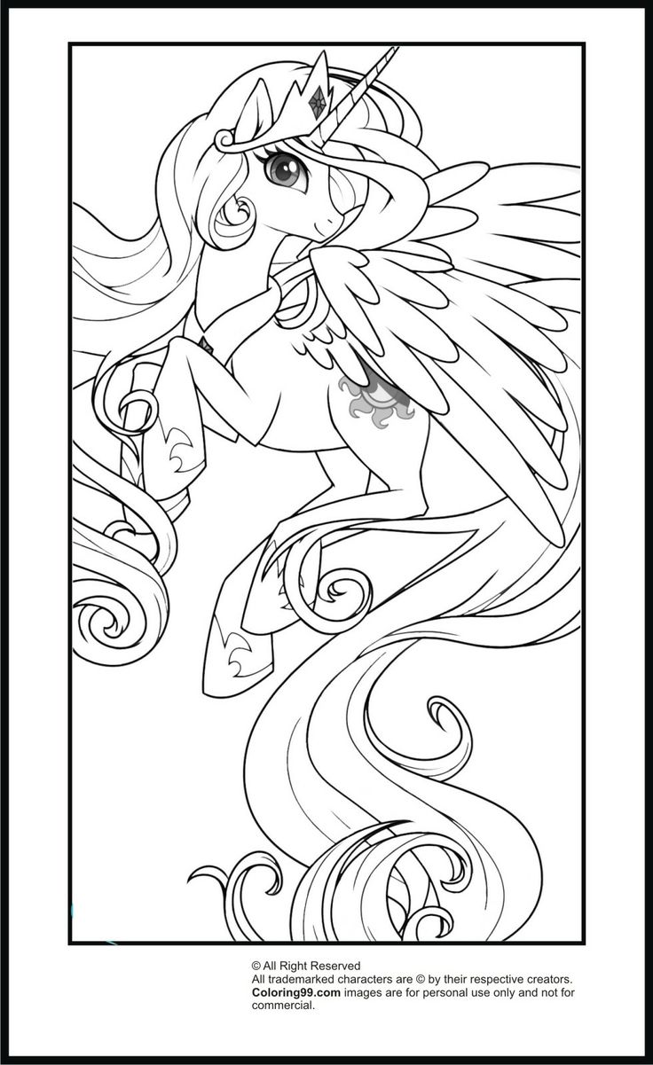 Rainbow princess coloring pages - My Little Pony Princess Celestia Coloring Pages