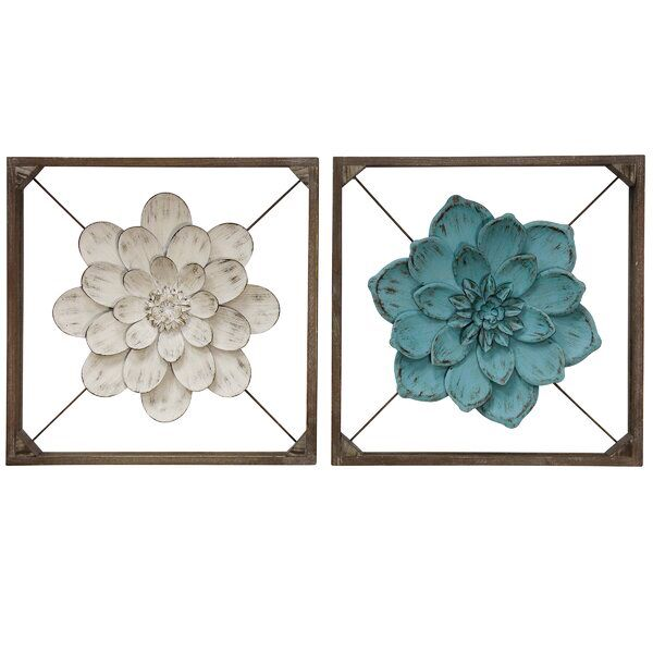 2 Piece Box Framed Metal Flower Wall Decor Set Metal Flower Wall Decor Wood Wall Sculpture Frame Wall Decor