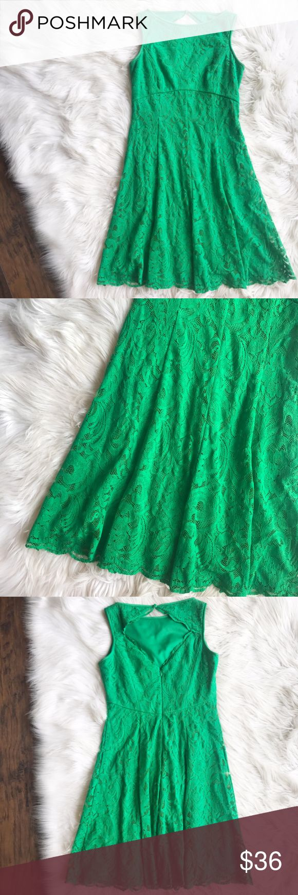 Maggy London Kelly Green Lace Dress Excellent condition lace dress by Maggy London. Flattering empire waist line, open back detailing. Fully lined. Perfect dress for a wedding or other special occasion. Size 2. Measurements to come. Maggy London Dresses
