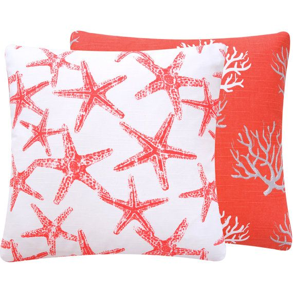 """Star Fish Coral Throw Pillow Cover 18"""" Square Bright Sea Life Beach Home Decor Premier Prints, Wonders of the Seas Salmon Collection"""