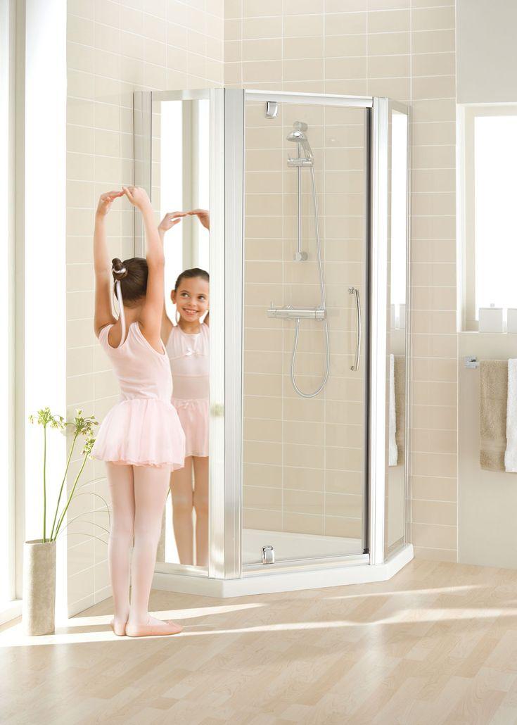 Mirror: Semi-Frameless Pentagon Shower › Lakes Bathrooms