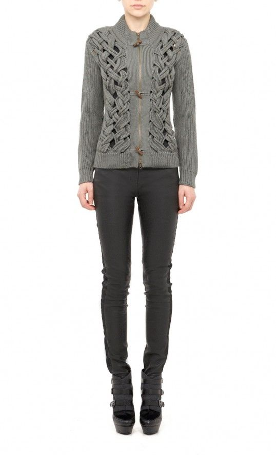 Nicole Miller_CABLE CUT ZIPPER SWEATER
