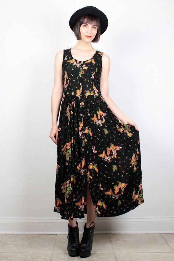Vintage 90s Dress Maxi Dress Black Gauze Dress 1990s Dress Soft Grunge Dress Boho Lace Up Back Butterfly Print Midi Dress Sundress M Medium #vintage #etsy #90s #1990s #dress #midi #maxi #gauze #butterfly #butterflies #sundress #grunge #softgrunge