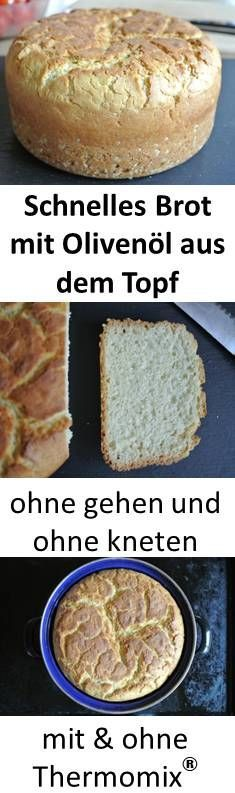 Jeder Topf ohne Plastikteile kann fluffiges Brot mit Olivenöl backen. Teig ohne gehen lassen - auch für Thermomix