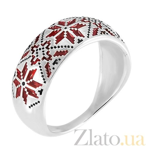 Серебряное кольцо с эмалью Калина