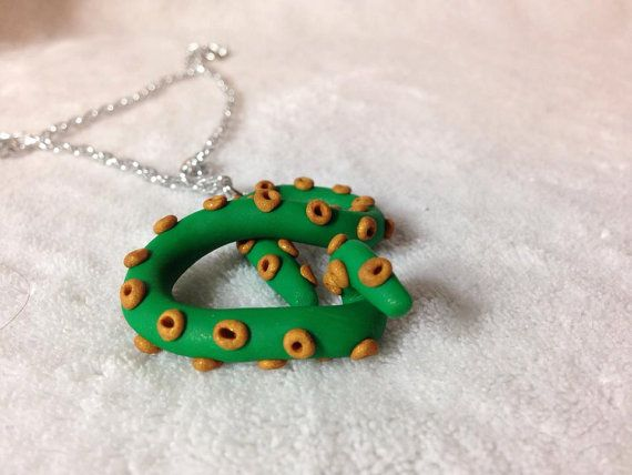 Green Gold Tentacle Polymer Necklace by SammyCraft on Etsy, $12.00
