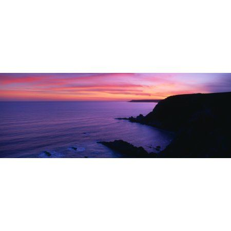 Silhouette of a coast Erme Mouth River Erme Beacon Point Devon England Canvas Art - Panoramic Images (36 x 12)
