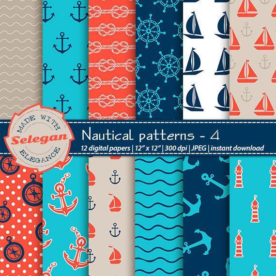 "nautical scrapbook paper "" Nautical Patterns -4 "" Nautical Digital Paper,Sea Digital Paper,Nautical Background,Printable Nautical Paper by Selegan on Etsy"