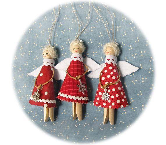 Natale angeli, rosso ornamenti di Natale, decorazioni albero - SET di 3