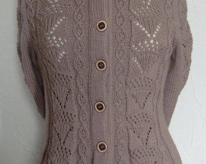 Veste Femme En laine - Jolis points fantaisie ajouré et torsades - Taille 36 - 38 - Tricotée à la main
