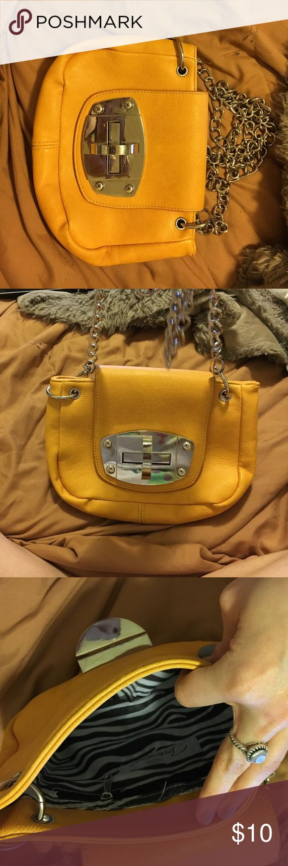 "Tj max cross body purse Yellow with silver accent chain. L 9.5"" Depth : 6"" Bags Crossbody Bags"