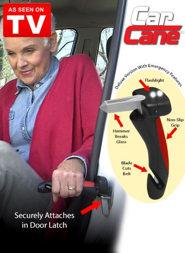 Make it easier to get in and out of any car with Car Cane, As Seen on TV. It fits into your car's door latch to give you the extra leverage and stability you need.