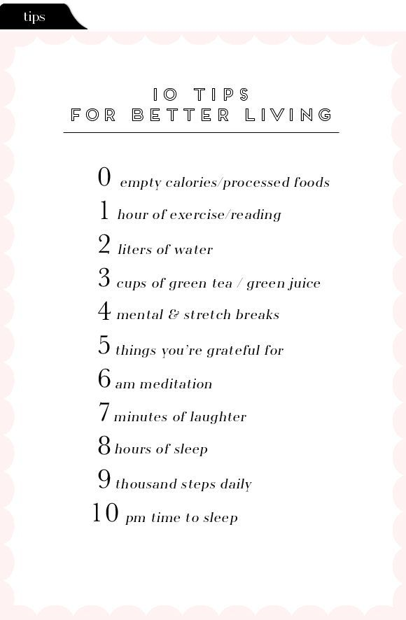 Healthy living tips.