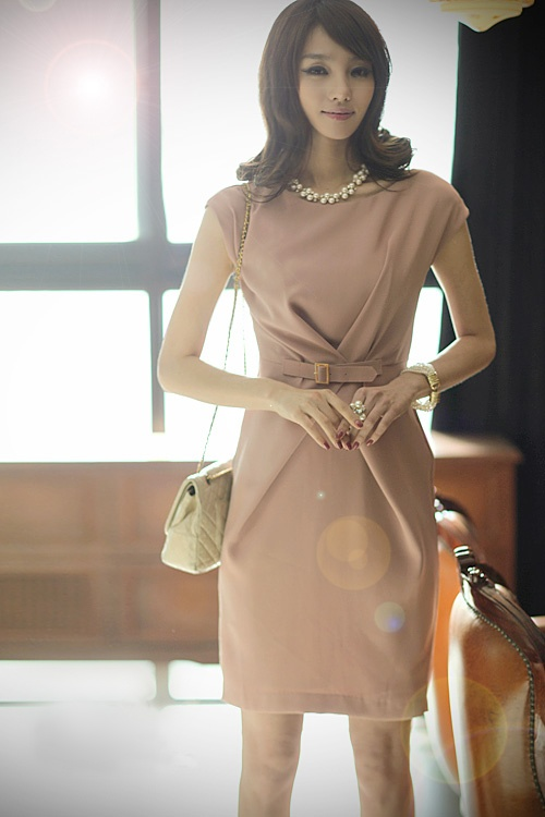 European Style Career Dress with Belt from Paiye Fashion (paiyefashion.com)