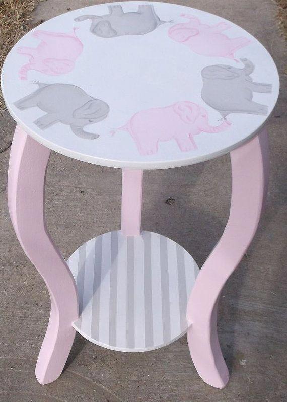 nursery table 15 elephants pink gray kids white elephants custom rh pinterest com