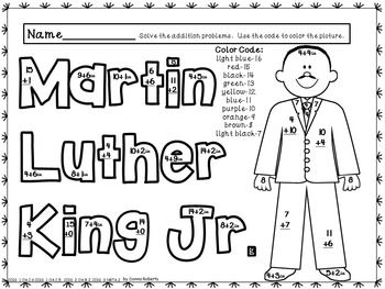 martin luther king jr mlk color by code addition color by number ccss aligned