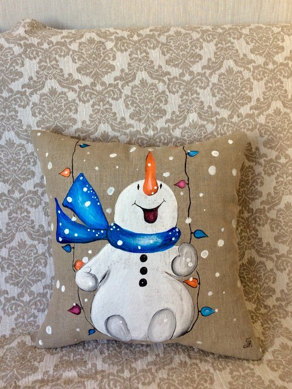 Snowman Pillow Cover Hand-painted Snow Christmas Blue scarf
