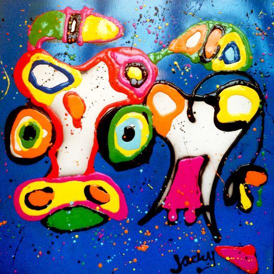Koe blauw van Jacky | Kleurrijk schilderij gemaakt van kunsthars