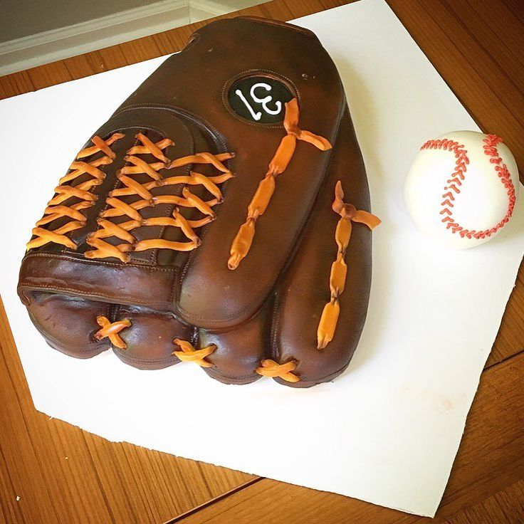 Baseball glove cake—perfect for birthday parties and for the baseball fans in your life!