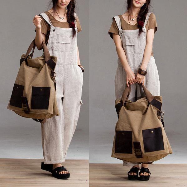 Large Capacity Canvas Shopping Handbag - Tkdress  - 1