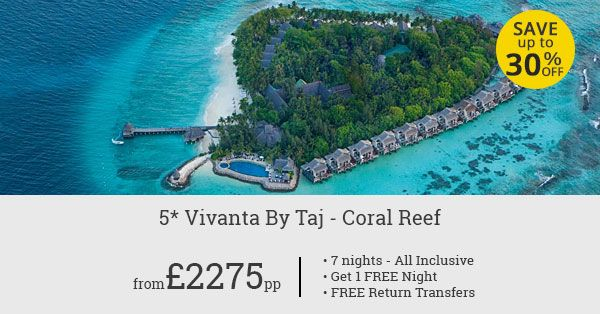 Stay at Vivanta By Taj Coral Reef to save big on your Maldives holiday. Up to 30% savings, free return transfers, and one free night!