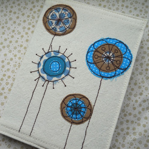 embroidered flowers fabric notebook and A6 notebook - sold by fiona t.