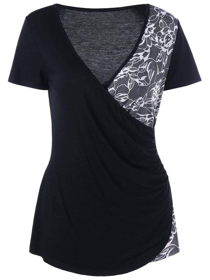 #AdoreWe #Fashionmia Fashionmia Deep V-Neck  Decorative Lace Short Sleeve T-Shirt - AdoreWe.com