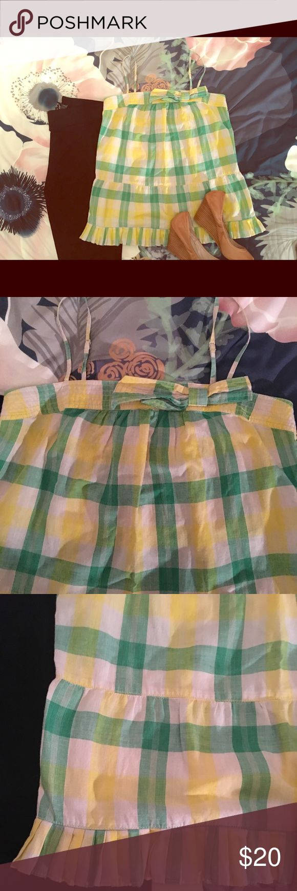 Juicy Couture Plaid Green and Yellow Tank Top Juicy Couture Plaid Green and Yellow Tank Top. Bow detail. Size 10. Juicy Couture Tops Tank Tops