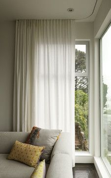Modern curtains on recessed track modern window treatments