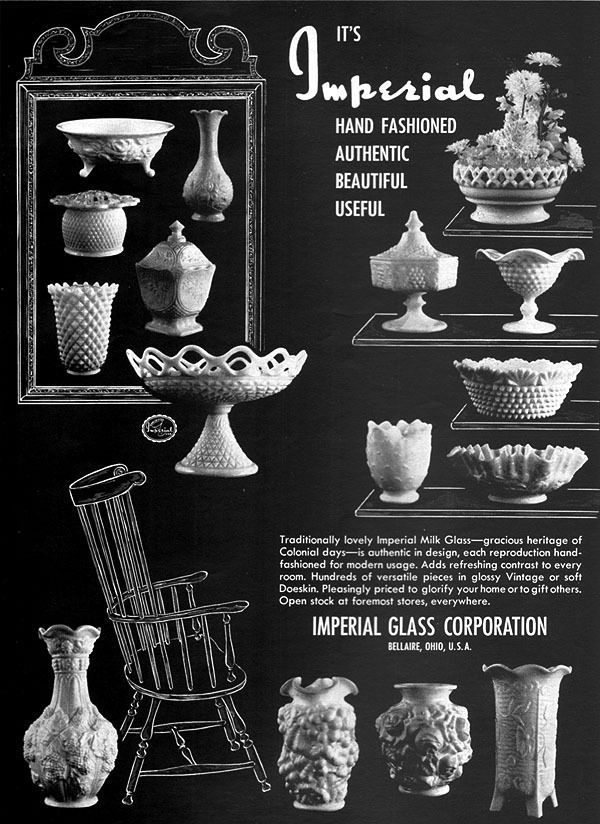 Milk Glass IMPERIAL GLASS Hobnail BOWLS Vases GLOSSY Doeskin 1961 MAGAZINE AD