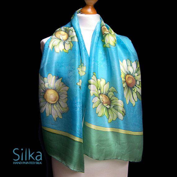 Blue  scarf Floral silk scarf  Silk scarf Hand by SilkaShop